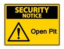 Знак символа открытого карьера извещении о безопасностью на белой предпосылке, иллюстрации вектора иллюстрация штока