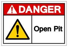 Знак символа открытого карьера опасности, иллюстрация вектора, изолят бесплатная иллюстрация