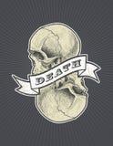 Знак смерти с лентой и череп vector eps8 Стоковые Фото