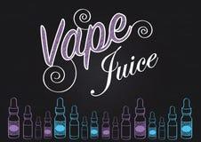 Знак сока vape Vaping с иллюстрацией бутылок пара Стоковая Фотография