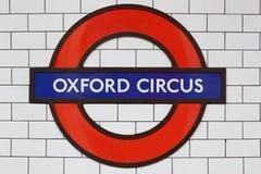 Знак станции цирка Оксфорда, Лондон подземный Стоковые Изображения
