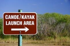 Знак старта каня и Kayak Стоковые Фото