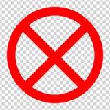Знак стопа запрета Красный значок на прозрачной предпосылке иллюстрация вектора