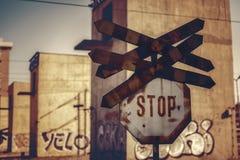 Знак стопа скрещивания рельса Стоковые Изображения