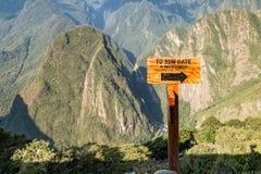 Знак строба солнца Machu Picchu, Cusco, Перу, Южная Америка Стоковая Фотография