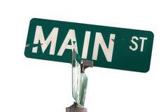 Знак США главной улицы краски шелушения стоковое фото rf