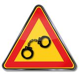 Знак с 2 наручниками иллюстрация вектора