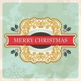 Знак с Рождеством Христовым ретро иллюстрация штока