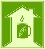 Знак с чашкой зеленого чая Стоковые Изображения RF