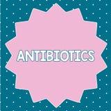 Знак текста показывая антибиотики Схематическое лекарство фото используемое в обработке и предохранении бактериальных инфекций бесплатная иллюстрация