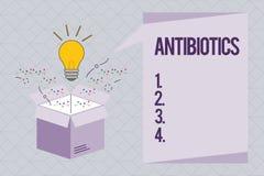 Знак текста показывая антибиотики Схематическое лекарство фото используемое в обработке и предохранении бактериальных инфекций иллюстрация вектора