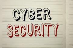 Знак текста показывая безопасность кибер Предохранение схематического фото онлайн вирусов нападений шифрует информацию написанную Стоковые Фотографии RF