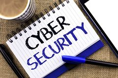 Знак текста показывая безопасность кибер Предохранение схематического фото онлайн вирусов нападений шифрует информацию написанную Стоковая Фотография RF