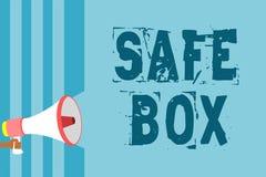 Знак текста показывая безопасную коробку Схематическая структура фото a малая где вы можете держать важное или ценное loudspeak м бесплатная иллюстрация