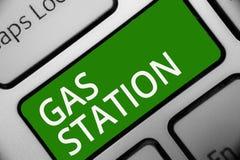 Знак текста показывая бензоколонку Схематическое фото для обслуживая моторных транспортов особенно с ключом i зеленого цвета клав стоковая фотография