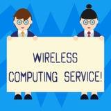 Знак текста показывая беспроводное вычисляя обслуживание Схематическая компания фото которая предлагает обслуживаниям трансмиссии иллюстрация штока