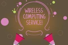 Знак текста показывая беспроводное вычисляя обслуживание Схематическая компания фото которая предлагает обслуживаниям трансмиссии иллюстрация вектора