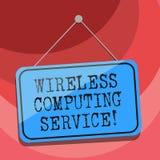 Знак текста показывая беспроводное вычисляя обслуживание Схематическая компания фото которая предлагает обслуживания трансмиссии  иллюстрация вектора