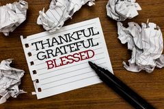 Знак текста показывая благодарное благословленное признательное Шишки бумаги ориентации настроения схематической признательности  стоковое изображение rf