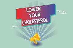 Знак текста показывая более низко ваш холестерол Схематическое фото уменьшает вход наварной еды делает регулярные физические упра иллюстрация вектора
