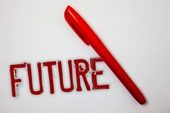 Знак текста показывая будущее Схематический период времени фото следовать событиями присутствующего момента которые случатся spla Стоковые Изображения RF