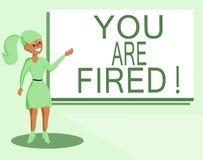 Знак текста показывая вас увольнян Схематическое фото выходя от работы и, который стали безработного не конца карьера бесплатная иллюстрация