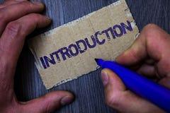 Знак текста показывая введение Часть схематического фото первая представления документа официально к человеку аудитории работая д стоковые изображения