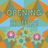 Знак текста показывая времена открытия Схематическое фото время во время которого дело открыто для дела клиентов 2 иллюстрация штока