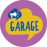 Знак текста показывая гараж Схематическое здание фото для расквартировывать моторный транспорт или корабли для того чтобы положит иллюстрация вектора