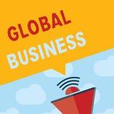 Знак текста показывая глобальный бизнес Схематические торговля и бизнес-система фото компания делая через мир иллюстрация вектора