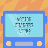 Знак текста показывая действие изменяет вещи Схематическое фото преодолевая невзгоду путем принимать действие на фронте проблем в бесплатная иллюстрация