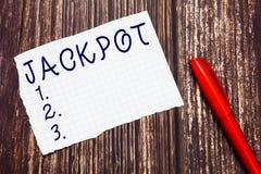 Знак текста показывая джэкпот Приз наличных денег схематического фото большой в связанный играть в азартные игры награды лотереи  стоковое изображение