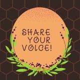 Знак текста показывая доле ваш голос Схематическое фото сказать ваше мнение к каждому и обсудить его с другими пробел бесплатная иллюстрация