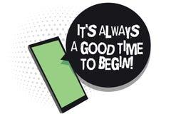 Знак текста показывая ему s всегда полезного время работы начать Схематическое фото старта receivi сотового телефона положительно иллюстрация штока