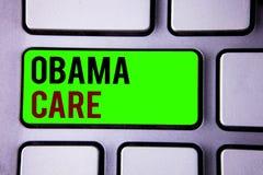 Знак текста показывая заботу Обамы Схематическая государственная программа фото предохранения от пациента системы страхования стоковая фотография rf