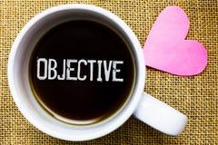 Знак текста показывая задачу Схематическая цель фото запланировала быть достиганным пожелала кофейную чашку времени чая полета ко Стоковые Фото