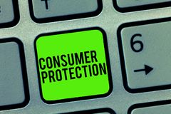 Знак текста показывая защиту потребителя Схематические законы справедливой торговли фото для обеспечения предохранения от прав по стоковое изображение rf