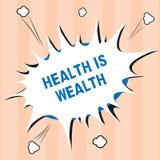 Знак текста показывая здоровье богатство Схематическое фото быть здорово более важно чем был состоятельно стоковая фотография