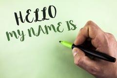 Знак текста показывая здравствуйте! мое имя Схематическая встреча фото кто-то новое представление интервью введения написанное ho стоковая фотография