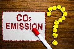 Знак текста показывая излучение СО2 Схематический выпускать фото газов оранжереи в cr отметки белой бумаги атмосферы с течением в стоковая фотография rf