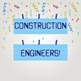 Знак текста показывая инженеры по строительству и монтажу Схематическая дисциплина фото которая общается с конструировать и плани иллюстрация вектора