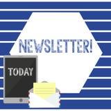 Знак текста показывая информационый бюллетень Схематический бюллетень фото периодически отправляемый в подписанное информационное иллюстрация штока