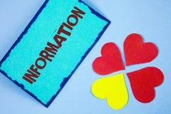 Знак текста показывая информацию Схематические факты фото выучили о что-то знание полученное от исследования написанного на липко стоковое фото rf