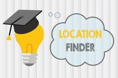 Знак текста показывая искатель положения Схематическое обслуживание фото a отличаемое для того чтобы найти адрес выбранного места бесплатная иллюстрация