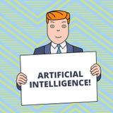 Знак текста показывая искусственный интеллект Функция схематического экземпляра машины фото когнитивная как усмехаться решения пр иллюстрация штока