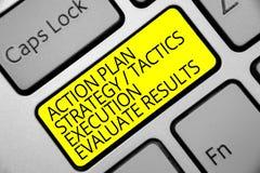 Знак текста показывая исполнение тактик стратегии плана действия оценивает результаты Схематический желтый цвет ke клавиатуры обр стоковое изображение rf