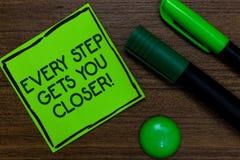 Знак текста показывая каждый шаг получает вас близкий Схематическое фото Keep двигая для достижения ваших задач целей написанных  стоковое фото