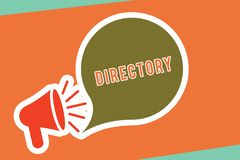 Знак текста показывая каталог Схематические книга или вебсайт фото перечисляя мегафон организаций индивидуалов алфавитно с иллюстрация штока