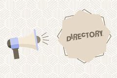 Знак текста показывая каталог Схематические книга или вебсайт фото перечисляя мегафон организаций индивидуалов алфавитно иллюстрация вектора