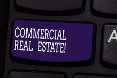 Знак текста показывая коммерчески недвижимость Схематическое свойство фото которое используемая единственно для деловых целей кла стоковое фото rf